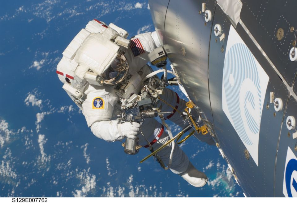 Astronaut Randy Bresnik, STS-129 mission specialist, participates in the mission's second session of extravehicular activity.