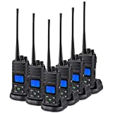 SAMCOM 5 Watts Two Way Radio Long Range Handheld UHF Business 2 Way Radio for Adult Programmable Walkie Talkie with Rechargeable 1500mAh Battery LCD Display Charging Docks Earpieces (6 Packs)