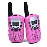 WANFEI 2 x Walkie Talkies for Kids, 2-Way Radio Kids Walkie Talkies with 22 Channels LCD Screen VOX Flashlight 10 Call Tones Ideal Gifts Walky Talky Toy for Children (Battery Not Included) (Rose)