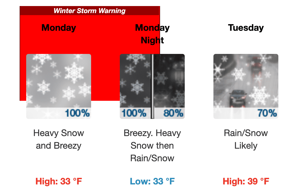 [CREDIT: NWS] The National Weather Service has issued a Winter Storm Warning as a snowstorm heads for RI Monday. Warwick has issued a parking ban through Tuesday.