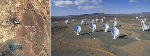 Left-hand panel: A satellite view of the MeerKAT receptor pads before the installation of the receptors, with the Hydrogen Epoch of Reionization Array (HERA) in the neighbourhood, captured from Google Earth. Right-hand panel: A photograph of some of the MeerKAT receptors with the flat-topped hills (Karoo Kopies) capped by dolerite sills, a reminder of the Gondwanan past, in the background (courtesy SARAO).